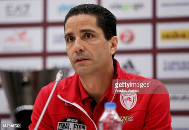Coach Ioannis Sfairopoulos of Olympiacos speaks during a media conference at Sinan Erdem Dome ahead of their grand finale game between Fenerbahce...