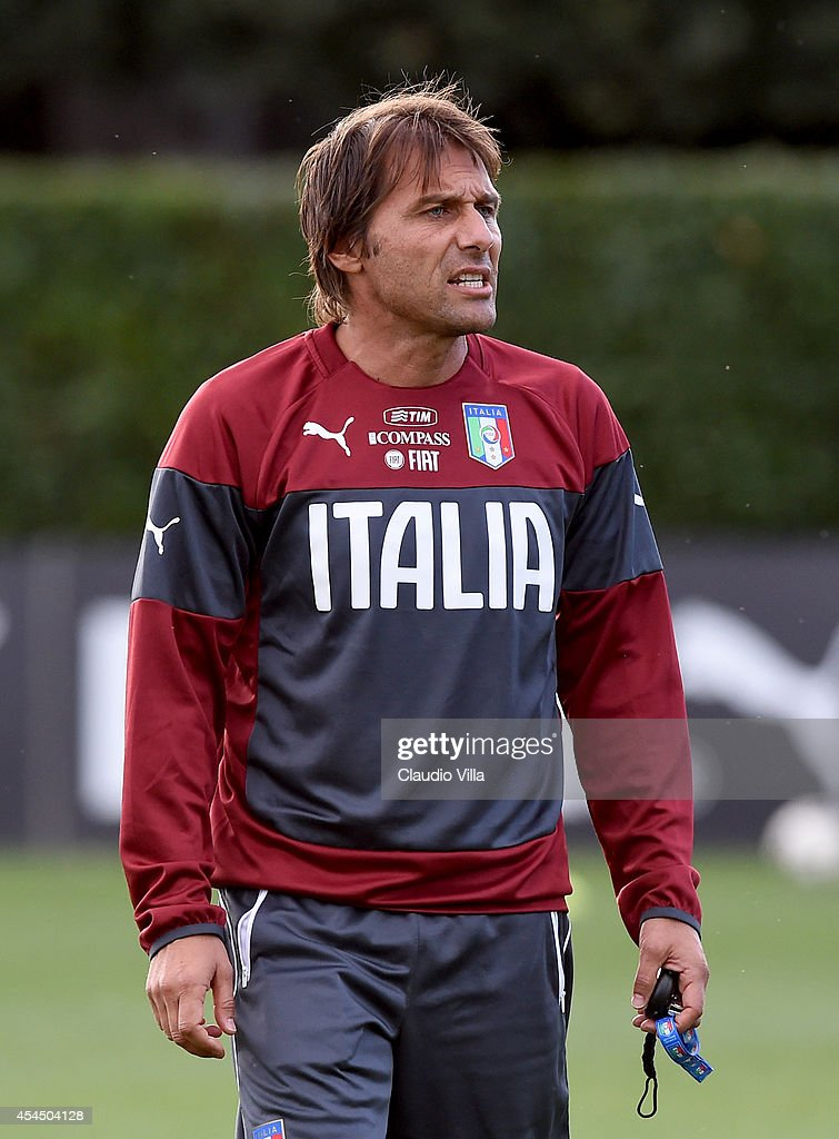 Coach Italy <a gi-track='captionPersonalityLinkClicked' href=/galleries/search?phrase=Antonio+Conte&family=editorial&specificpeople=2379002 ng-click='$event.stopPropagation()'>Antonio Conte</a> reacts during Italy Training Session at Coverciano on September 2, 2014 in Florence, Italy.