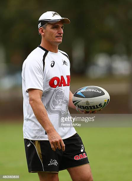 Coach Ivan Cleary arrives at the Penrith Panthers NRL training session at Sportingbet Stadium on March 26 2014 in Sydney Australia