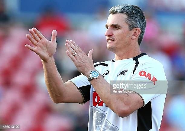 Coach Ivan Cleary directs his team during a Penrith Panthers NRL training session at Centrebet Stadium on September 24 2014 in Penrith Australia