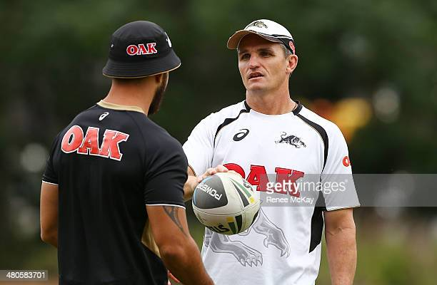 Coach Ivan Cleary talks with Isaac John during a Penrith Panthers NRL training session at Sportingbet Stadium on March 26 2014 in Sydney Australia