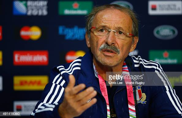 Coach Jacques Brunel of Italy talks to the media during the post match press conference during the 2015 Rugby World Cup Pool D match between Ireland...