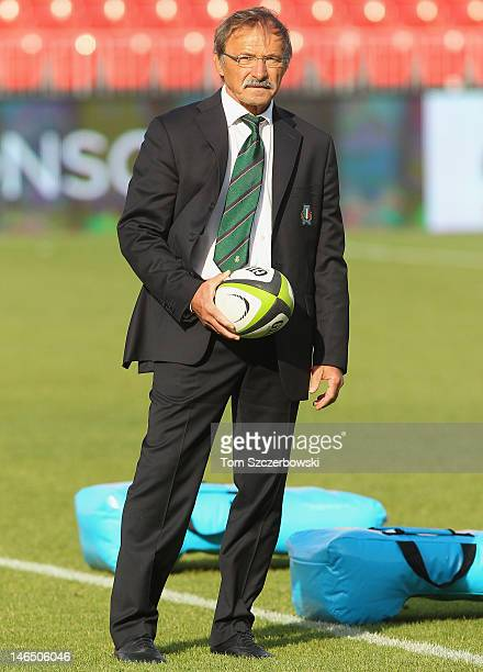 Coach Jacques Brunel of Italy watches warmups before the game against Canada during the International Test Match on June 15 2012 at BMO Field in...