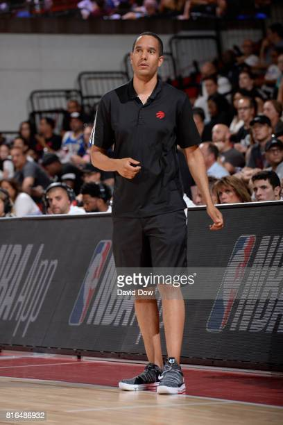 Coach Jama Mahlalela of the Toronto Raptors watches from the sidelines in a game against the New Orleans Pelicans during the 2017 Las Vegas Summer...