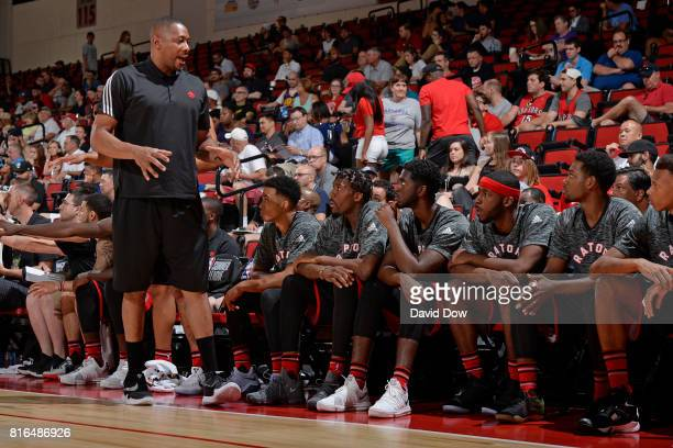 Coach Jamaal Magloire of the Toronto Raptors talks to the team against the New Orleans Pelicans during the 2017 Las Vegas Summer League on July 7...