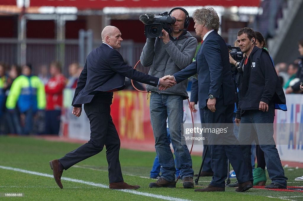coach Jan Wouters of FC Utrecht, coach Gert Jan Verbeek of AZ during the Dutch Eredivisie match between AZ Alkmaar v FC Utrecht at the Afas stadium on April 14, 2013 in Alkmaar, The Netherlands.