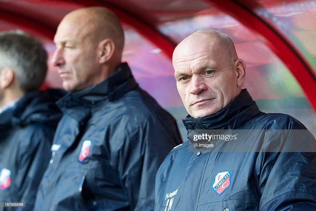 coach Jan Wouters of FC Utrecht during the Dutch Eredivisie match between FC Utrecht and AZ Alkmaar at the Galgenwaard Stadium on December 02, 2012 in Utrecht, The Netherlands.