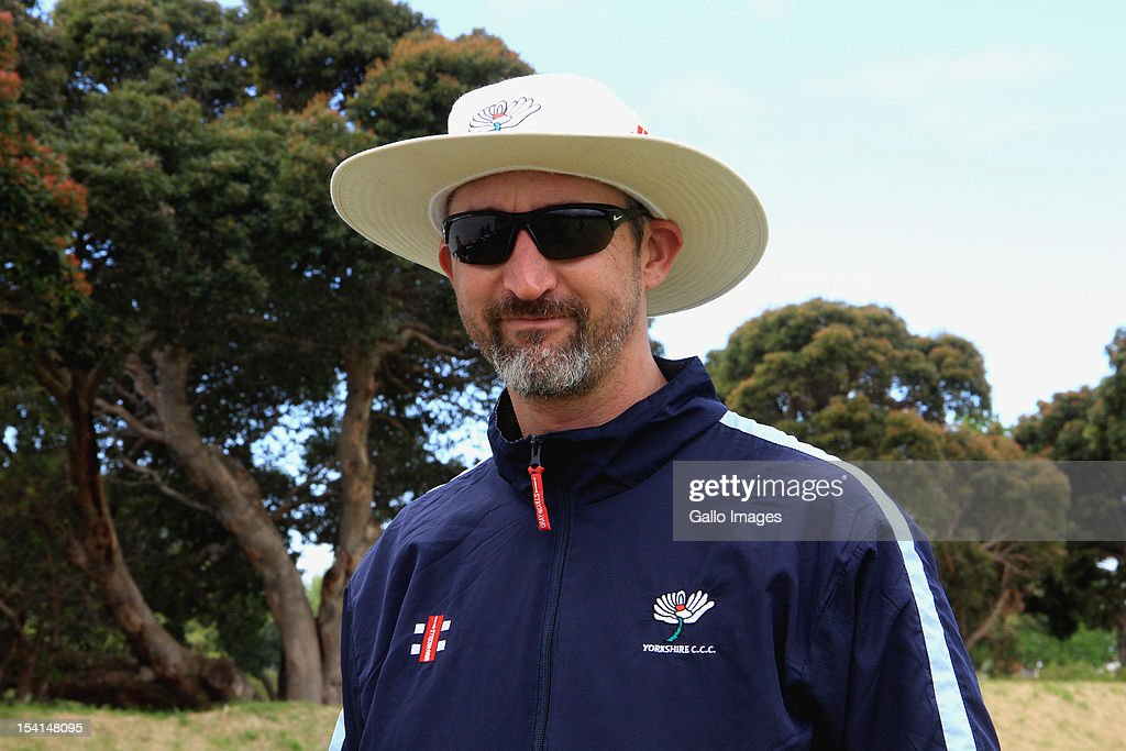 Coach <a gi-track='captionPersonalityLinkClicked' href=/galleries/search?phrase=Jason+Gillespie&family=editorial&specificpeople=167160 ng-click='$event.stopPropagation()'>Jason Gillespie</a> of Yorkshire Carmegie attends a training session during the Champions League Twenty20, at Claremont Cricket Club on October 15, 2012 in Cape Town, South Africa.