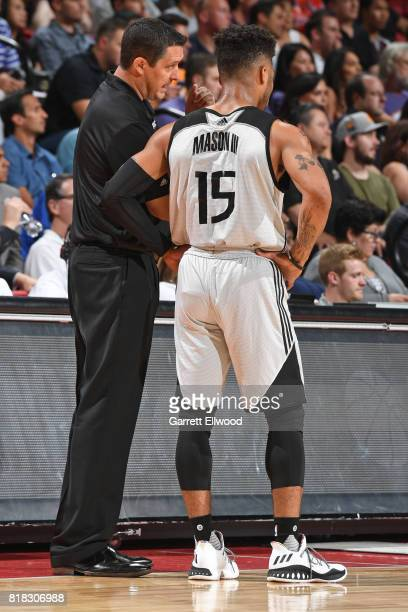 Coach Jason March talks to Frank Mason of the Sacramento Kings on July 7 2017 at the Thomas Mack Center in Las Vegas Nevada NOTE TO USER User...