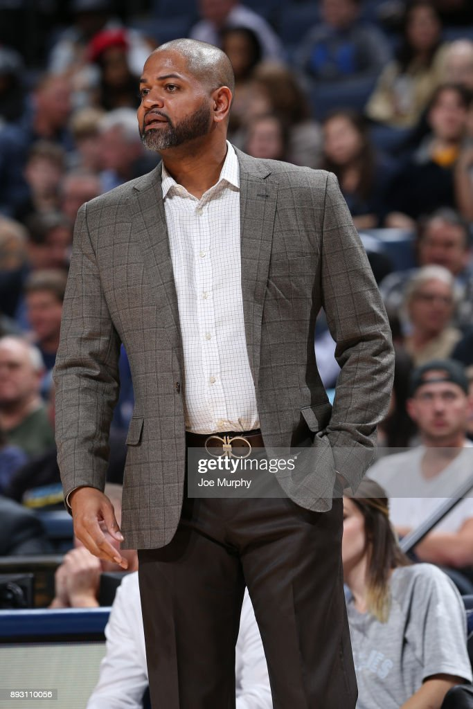 Coach J.B. Bickerstaff of the Memphis Grizzlies during the game against the Miami Heat on December 11, 2017 at FedExForum in Memphis, Tennessee.