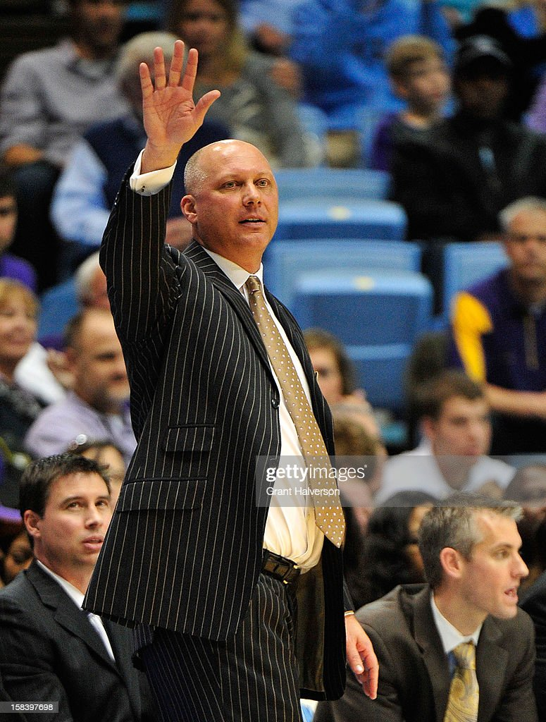 Coach Jeff Lebo of the East Carolina Pirates directs his team against the North Carolina Tar Heels during play at the Dean Smith Center on December 15, 2012 in Chapel Hill, North Carolina. North Carolina won 93-87.