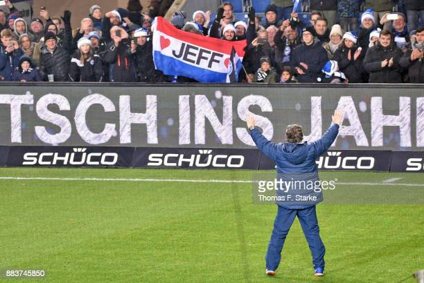 Coach Jeff Saibene of Bielefeld celebrates with his supporters after the Second Bundesliga match between DSC Arminia Bielefeld and FC St Pauli at...