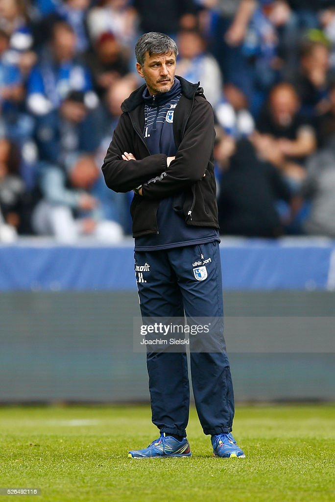 Coach Jens Haertel of Magdeburg before the Third League match between 1. FC Magdeburg and SG Sonnenhof-Grosssaspach at MDCC-Arena on April 30, 2016 in Magdeburg, Germany.