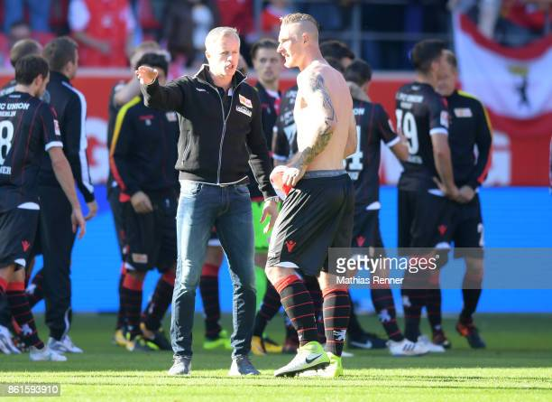 coach Jens Keller and Sebastian Polter of 1FC Union Berlin after the game between Jahn Regensburg and Union Berlin on october 15 2017 in Regensburg...