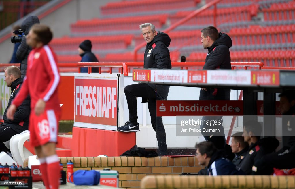 Coach Jens Keller of 1 FC Union Berlin during the game between Union Berlin and FK Dinamo Brest on october 5, 2017 in Berlin, Germany.