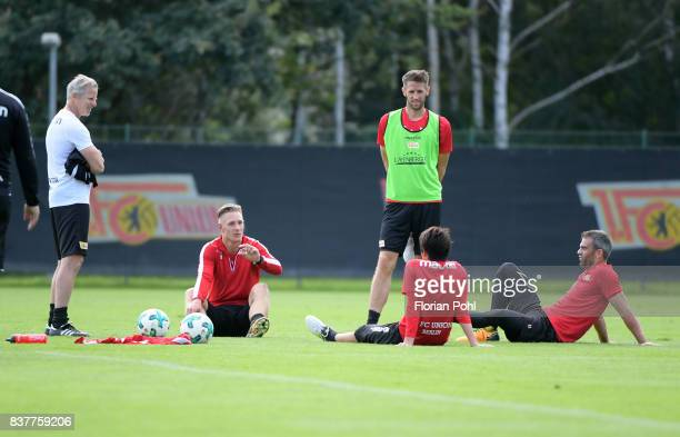 coach Jens Keller Sebastian Polter Michael Gspurning Atsuto Uchida and Marc Torrejon of 1 FC Union Berlin chat during the Trainnigs on august 23 2017...