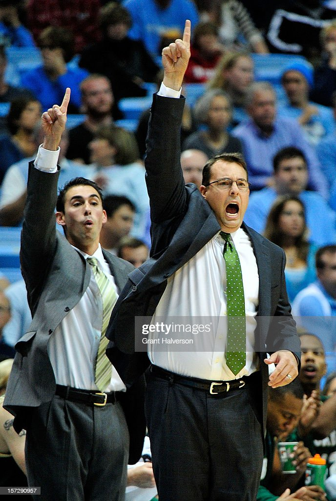 Coach Jerod Hasse, right, of the UAB Blazers, a former North Carolina assistant, directs his team against the North Carolina Tar Heels during play at the Dean Smith Center on December 1, 2012 in Chapel Hill, North Carolina. North Carolina won 102-84.
