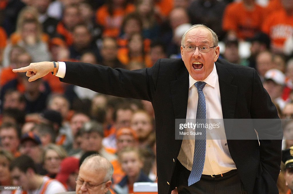 Coach <a gi-track='captionPersonalityLinkClicked' href=/galleries/search?phrase=Jim+Boeheim&family=editorial&specificpeople=210990 ng-click='$event.stopPropagation()'>Jim Boeheim</a> of the Syracuse Orange yells to his team during the game against the Marquette Golden Eagles at Carrier Dome on January 23, 2010 in Syracuse, New York.