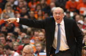 Coach Jim Boeheim of the Syracuse Orange yells to his team during the game against the Marquette Golden Eagles at Carrier Dome on January 23 2010 in...