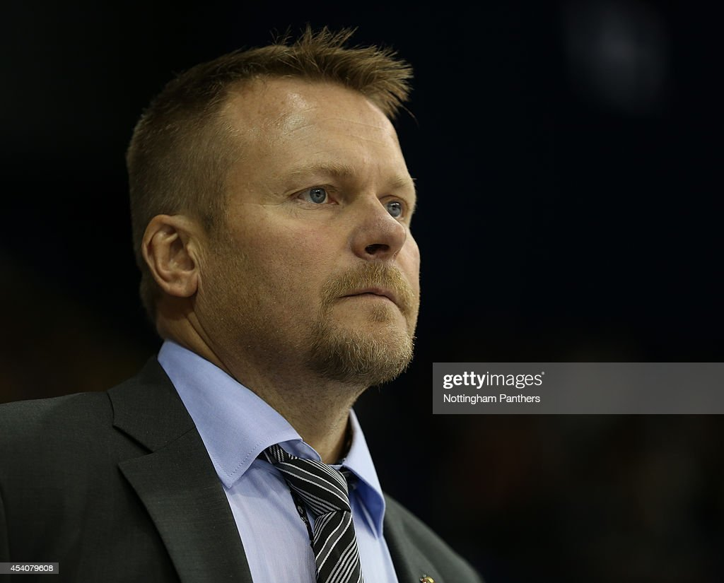 Coach Joakim Fagervall of Lulea looks on during the Champions Hockey League group stage game between Nottingham Panthers and Lulea Hockeyat at the National Ice Centre on August 24, 2014 in Nottingham, England.