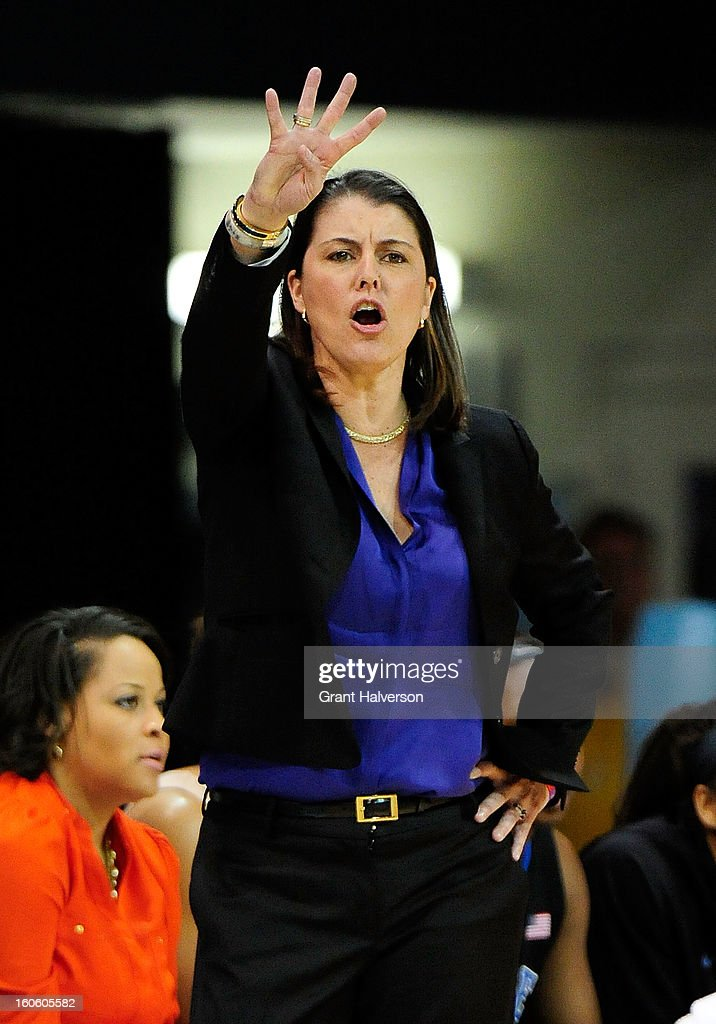 Coach Joanne P. McCallie of the Duke Blue Devils directs her team duing a win over the North Carolina Tar Heels at Carmichael Arena on February 3, 2013 in Chapel Hill, North Carolina. Duke won 84-63.