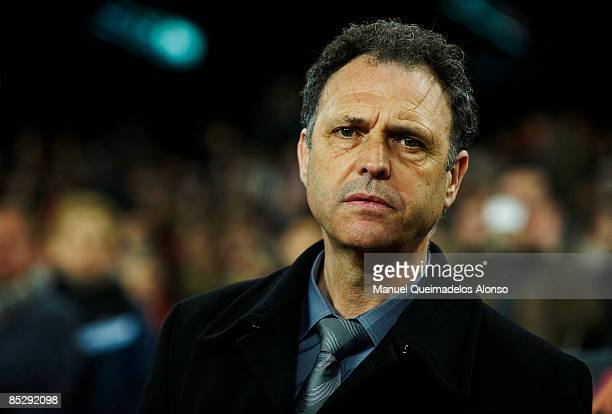 Coach Joaquin Caparros of Athletic Bilbao looks on before the La Liga match between Barcelona and Athletic Bilbao at the Camp Nou Stadium on March 7...
