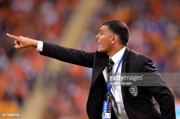 Coach John Aloisi of the Roar calls out to his players during the ALeague Elimination Final match between the Brisbane Roar and the Western Sydney...