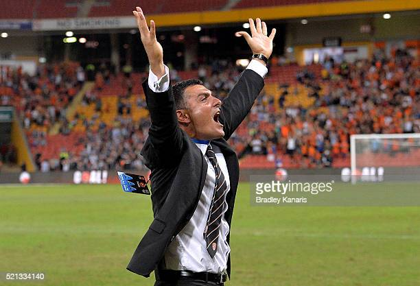 Coach John Aloisi of the Roar celebrates victory after the ALeague Elimination Final match between the Brisbane Roar and Melbourne Victory at Suncorp...