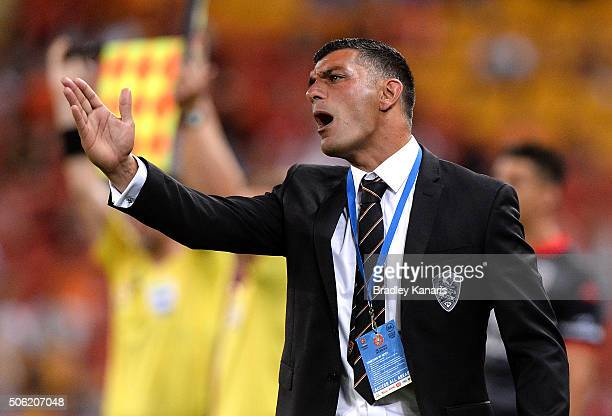 Coach John Aloisi of the Roar shows his disapointment at a refereeing decision during the round 16 ALeague match between the Brisbane Roar and...