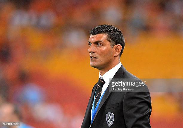 Coach John Aloisi of the Roar watches on during the round 12 ALeague match between the Brisbane Roar and Melbourne City FC at Suncorp Stadium on...
