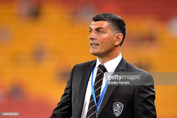 Coach John Aloisi of the Roar watches on during the round four ALeague match between Brisbane Roar and Adelaide United at Suncorp Stadium on October...