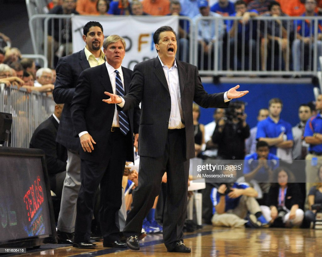 Coach <a gi-track='captionPersonalityLinkClicked' href=/galleries/search?phrase=John+Calipari&family=editorial&specificpeople=619983 ng-click='$event.stopPropagation()'>John Calipari</a> of the Kentucky Wildcats directs play against the Florida Gators February 12, 2013 at Stephen C. O'Connell Center in Gainesville, Florida. The Gators won 69 - 52.