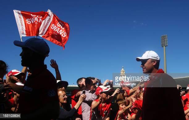 Coach John Longmire arrives for the Sydney Swans AFL Grand Final celebrations at Sydney Cricket Ground on September 30 2012 in Sydney Australia