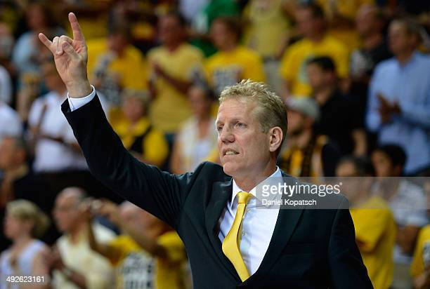 Coach John Patrick of Ludwigsburg reacts during the Beko BBL Playoffs semifinal match between MHP RIESEN Ludwigsburg and FC Bayern Muenchen on May 21...