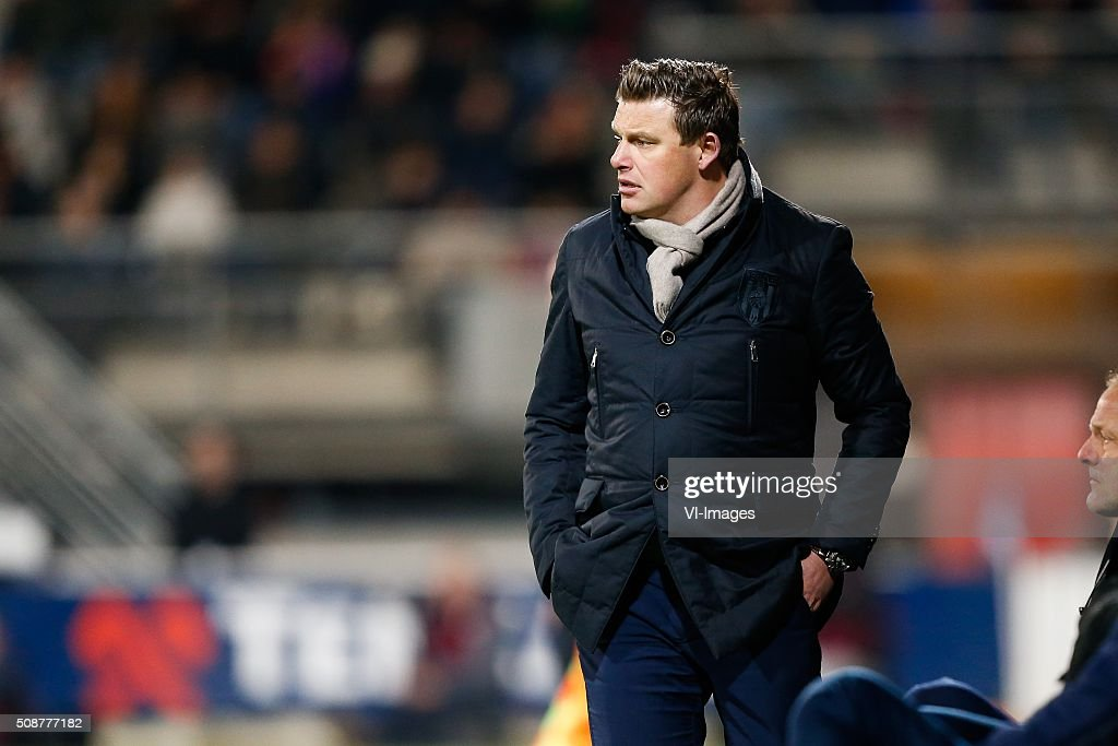 coach John Stegeman of Heracles Almelo during the Dutch Eredivisie match between Heracles Almelo and PEC Zwolle at Polman stadium on February 06, 2016 in Almelo, The Netherlands