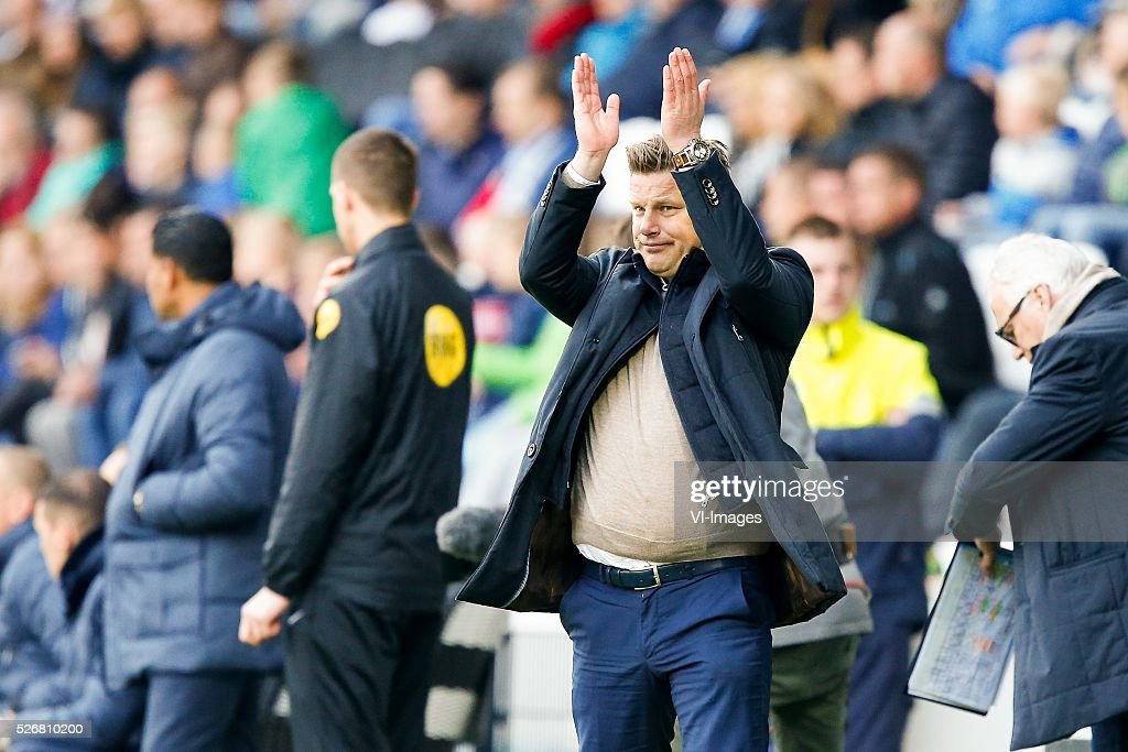 coach John Stegeman of Heracles Almelo during the Dutch Eredivisie match between Heracles Almelo and ADO Den Haag at Polman stadium on May 01, 2016 in Almelo, The Netherlands