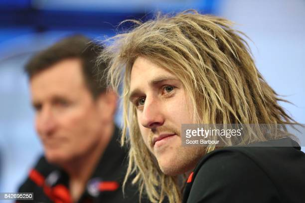 Coach John Worsfold and captain Dyson Heppell of the Bombers speak to the media during a Essendon Bombers AFL media opportunity at Fox Sports Studio...