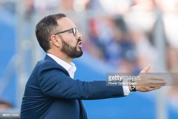 Coach Jose Bordalas Jimenez of Getafe CF gestures during the La Liga 201718 match between Getafe CF and Real Madrid at Coliseum Alfonso Perez on 14...