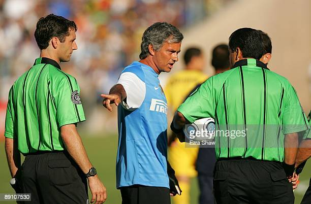 Coach Jose Mourinho of Inter Milan talks with the referees during the World Football Challenge game against Club America at Stanford Stadium on July...