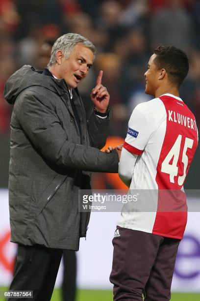 coach Jose Mourinho of Manchester United Justin Kluivert of Ajaxduring the UEFA Europa League final match between Ajax Amsterdam and Manchester...