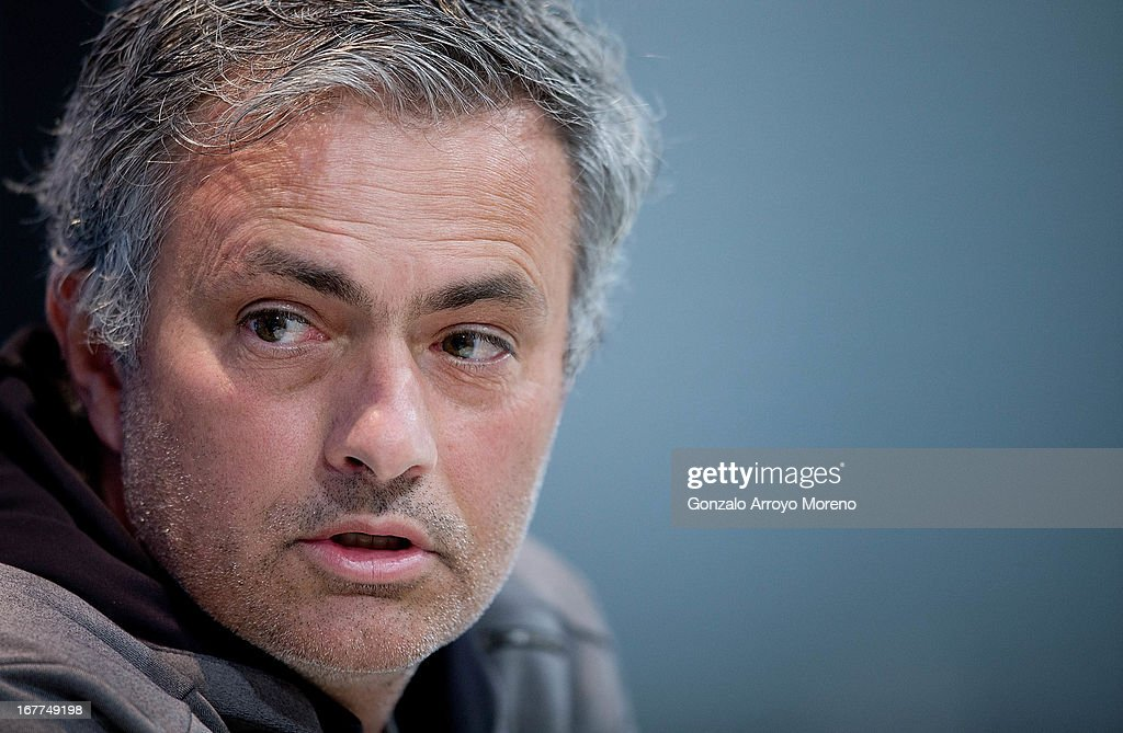 Coach Jose Mourinho of Real Madrid CF answers to questions from the media during a press conference ahead of the UEFA Champions League Semifinal second leg match between Real Madrid and Borussia Dortmund at the Valdebebas training ground on April 29, 2013 in Madrid, Spain.