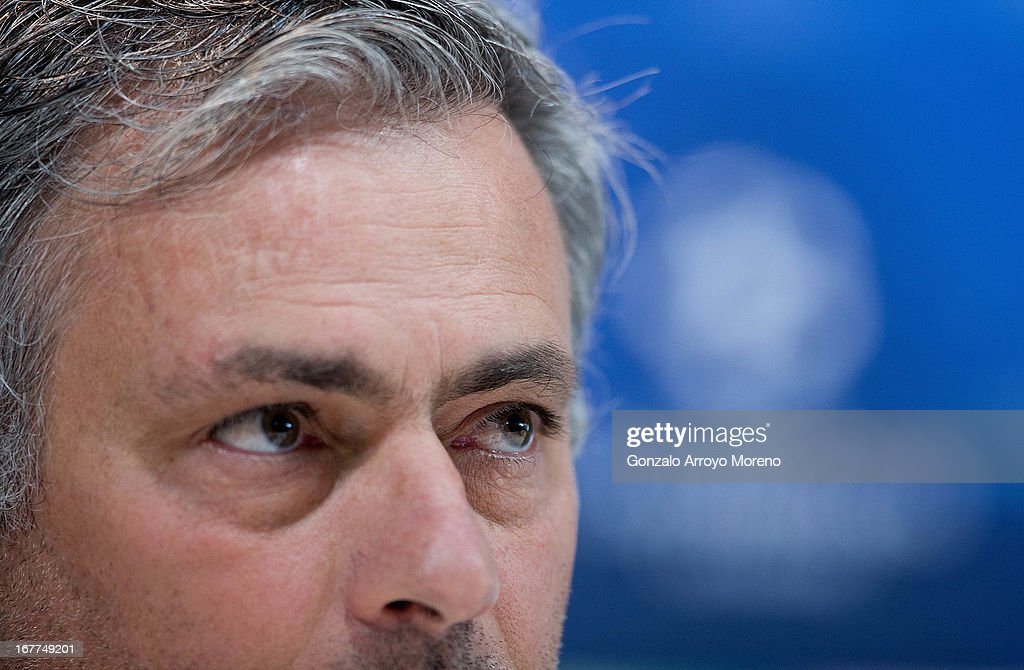 Coach Jose Mourinho of Real Madrid CF listen to questions from the media during a press conference ahead of the UEFA Champions League Semifinal second leg match between Real Madrid and Borussia Dortmund at the Valdebebas training ground on April 29, 2013 in Madrid, Spain.
