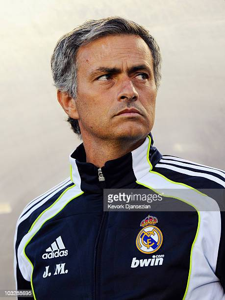 Coach Jose Mourinho of Real Madrid during the preseason friendly soccer match against Los Angeles Galaxy on August 7 2010 at the Rose Bowl in...