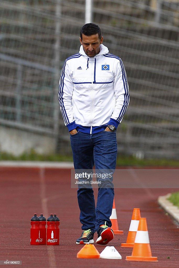 Coach Josef Zinnbauer of Hamburg during the third league match between VfL Wolfsburg II and Hamburger SV II at VfL Stadion am Elsterweg on August 24, 2014 in Wolfsburg, Germany.