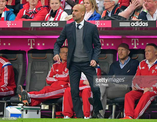 coach Josep Guardiola of FC Bayern Muenchen gestures during the game FC Bayern Muenchen against Hertha BSC on april 25 2015 in Muenchen Germany