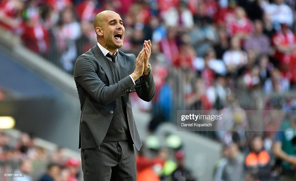 Coach Josep Guardiola of Muenchen reacts during the Bundesliga match between FC Bayern Muenchen and Borussia Moenchengladbach at Allianz Arena on April 30, 2016 in Munich, Germany.