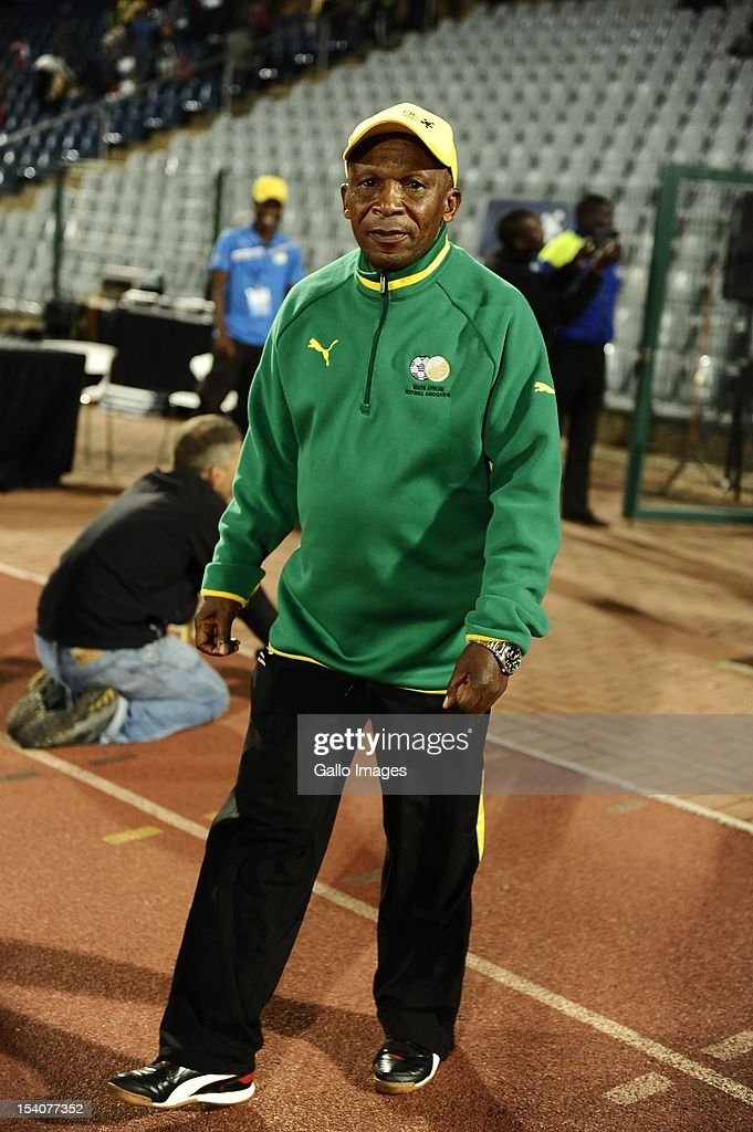 Coach Joseph Mkhonza of South Africa looks on during the Womens International Friendly match between South Africa and Zimbabwe from Volkswagen Dobsonville Stadium on October 13, 2012 in Dobsonville, South Africa.