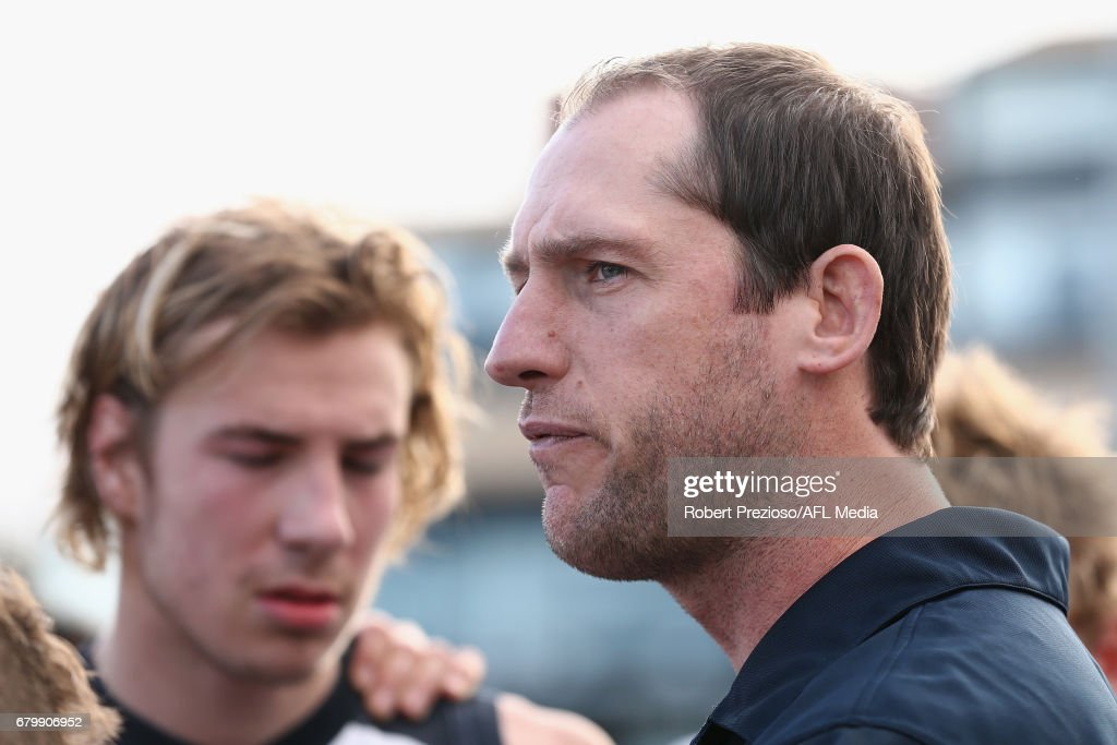 Coach Josh Fraser of the Northern Blues speaks during the round four VFL match between the Collingwood Magpies and the Northern Blues at Victoria Park on May 7, 2017 in Melbourne, Australia.