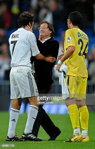 Coach Juan Antonio Anquela of AD Alcorcon greet Real Madrid team captain Raul Gonzalez after eliminating Real Madrid at the end of the Copa del Rey...