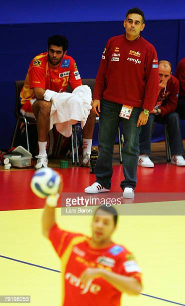 Coach Juan Carlos Pastor of Spain looks on during the Men's Handball European Championship main round Group II match between Spain and Iceland at...